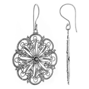Sterling Silver Floral Design Drop Earrings
