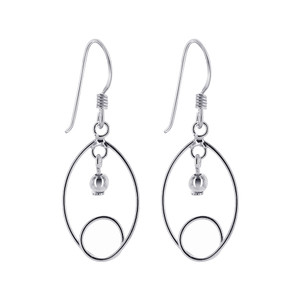 Safety Pin Like Twist with Ball Dangle Earrings