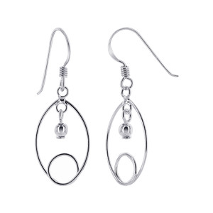 925 Sterling Silver Safety Pin Like Twist with 3mm Ball French Wire Dangle Earrings