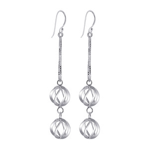 925 Sterling Silver 11mm x 12mm Two Swirled Spheres French wire Dangle Earrings