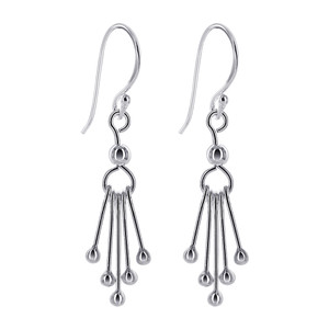 925 Sterling Silver 5mm wide Circle with Five Bars French wire Dangle Earrings