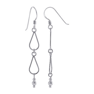 925 Sterling Silver Hollow Teardrop Hangings with Silver Beads Dangle Earrings