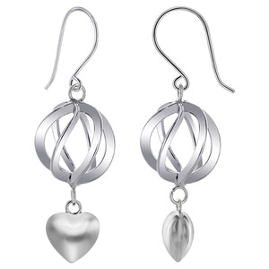 925 Sterling Silver 13mm x 14mm Sphere with 8mm Heart French wire Dangle Earrings