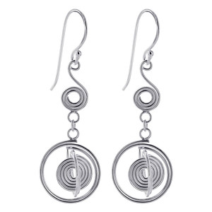 925 Sterling Silver Coiled Wire Design French Hook Dangle Earrings