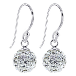 925 Sterling Silver Studded Round Clear Drop Earrings