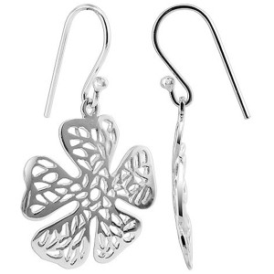 925 Sterling Silver 23mm x 22mm Flower French wire Drop Earrings