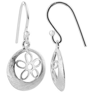925 Sterling Silver 10mm Flower Scratched Circle with French wire Drop Earrings