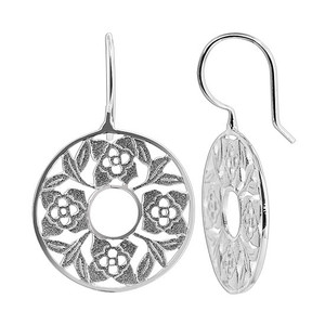 925 Sterling Silver Sandblasted Floral Design French wire Drop Earrings