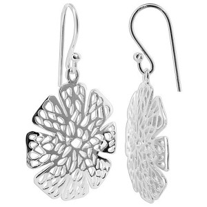 925 Sterling Silver Flower Design French wire Drop Earrings