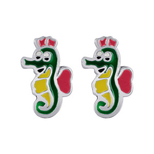 925 Sterling Silver Seahorse Multicolor Enamel Kids Post Back Stud Earrings