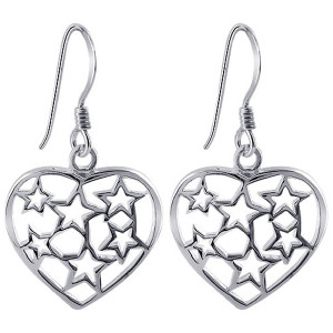 925 Sterling Silver Heart with Stars Design French Hook Drop Earrings #ELES011