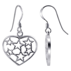 925 Sterling Silver Heart with Stars Design French Hook Drop Earrings