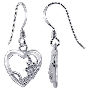 925 Sterling Silver Open Heart with Flower French Hook Drop Earrings