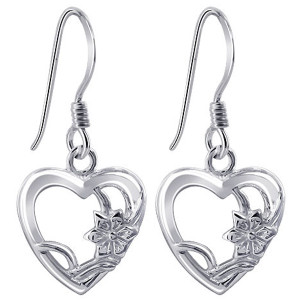 925 Sterling Silver Open Heart with Flower French Hook Drop Earrings #ELES012