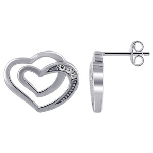 Rhodium Plated Over Sterling Silver Double Open Heart with 1mm Round Cubic Zirconia Earrings