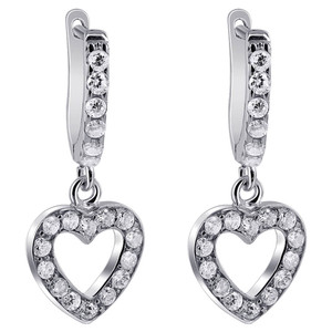 Rhodium Plated Over 925 Silver 11mm Open Heart with 2mm Round Clear Cubic Zirconia Dangle Earrings