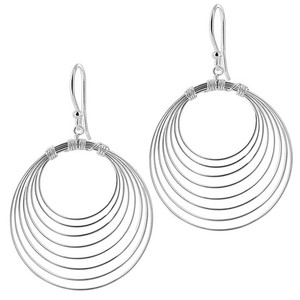 925 Sterling Silver Round Design French Dangle Earrings