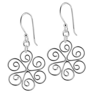 925 Sterling Silver 20mm Round Floral Swirl Design French Dangle Earrings