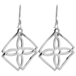Four-Petal Flower Square Frame Drop Earrings