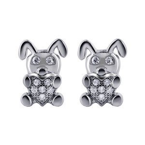 925 Sterling Silver 1mm Cubic Zirconia Bunny with Heart Stud Earrings #E001