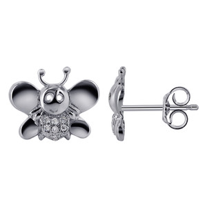 925 Sterling Silver Cubic Zirconia Bee Stud Earrings