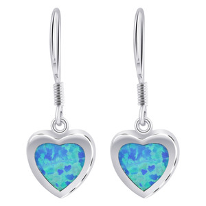 Blue Opal October Birthstone 11mm Heart 925 Sterling Silver French hook Drop Earrings