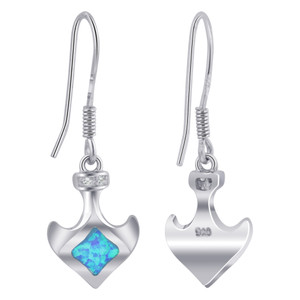 Anchor with Created Opal October Birthstone & Clear CZ 925 Sterling Silver Drop Earrings