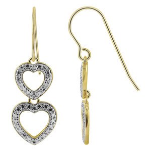 Gold over 925 Sterling Silver Twin Open Heart Vermeil French Wire Drop Earrings