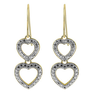 Gold over Sterling Silver Vermeil Twin Open Heart Drop Earrings