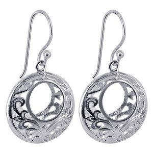 925 Sterling Silver 18mm Round Flilgree Hollow Design Drop Earrings