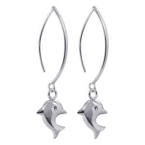 925 Sterling Silver Dangling Dolphin Drop Earrings