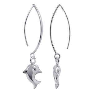 Dangling Dolphin Drop Earrings
