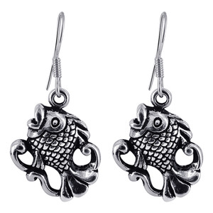 925 Sterling Silver Fish with Oxidized Finish Drop Earrings