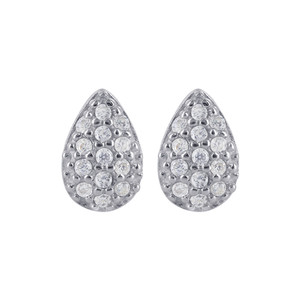 925 Sterling Silver 6 x 9mm Teardrop Shape Cubic Zirconia Stud Earrings