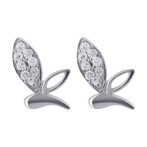 925 Sterling Silver Cubic Zirconia Studded Leaf Post Back Stud Earrings