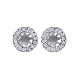 925 Sterling Silver Cubic Zirconia Studded  Star Design Post Back Stud Earrings