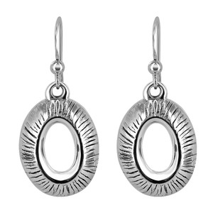 925 Sterling Silver Textured Oval French Hook Drop Earrings
