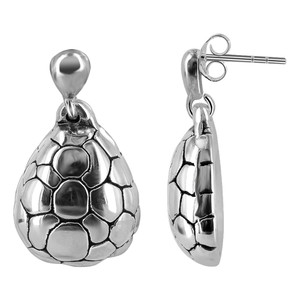 925 Sterling Silver Textured Turtle Shell Post Back Drop Earrings