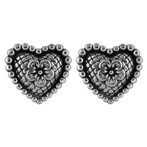 925 Sterling Silver Fancy Heart Post Back Stud Earrings #E061
