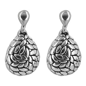 925 Sterling Silver Teardrop Textured Leaf Design Post Back Drop Earrings