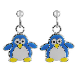 925 Sterling Silver Blue Enamel Kids Penguin Post Back Drop Earrings