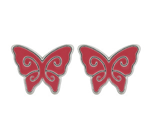 925 Sterling Silver Red Enamel Kids Butterfly Post Back Stud Earrings