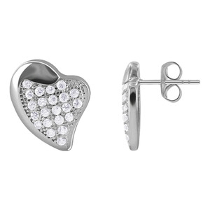 925 Sterling Silver Fancy Heart Pave Set Cubic Zirconia Post Back Stud Earrings