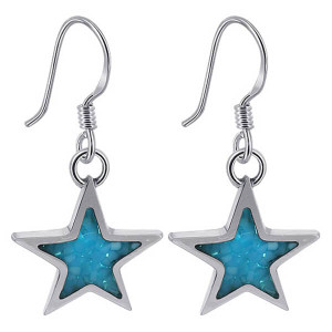 925 Sterling Silver Blue Turquoise Gemstone Southwestern Style Star Drop Earrings