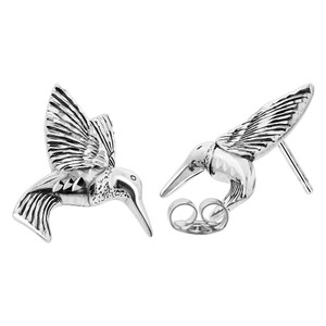 925 Sterling Silver Humming Bird Post Back Stud Earrings