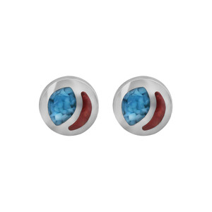 925 Sterling Silver Turquoise and Coral Gemstone Southwestern Style Post Back Stud Earrings
