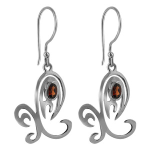 925 Sterling Silver Unique with Oval Ruby Color Cubic Zirconia French Hook Drop Earrings