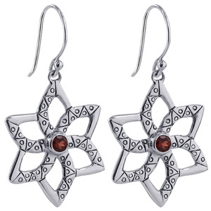 925 Sterling Silver Round Ruby Color Cubic Zirconia Surrounded by Star Design Drop Earrings