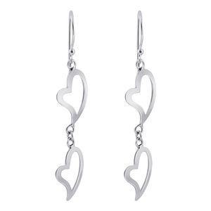 925 Sterling Silver Dangling Twin Open Heart Design Drop Earrings