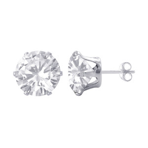 Sterling Silver 7mm Round Clear April Birthstone Cubic Zirconia Post Back Stud Earrings